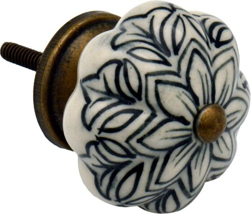Ceramic Cupboard Drawer Knob - Vintage Flower Design - Black