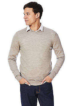 F&F Signature Merino Wool V-Neck Jumper - Beige