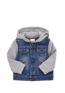 F&F Jersey Hooded Denim Jacket - Light Wash