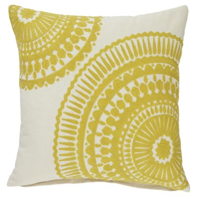 buy tesco crewel work yellow cushion from our cushions. Black Bedroom Furniture Sets. Home Design Ideas
