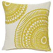 Tesco Crewel Work Yellow Cushion