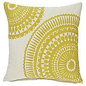 Tesco Crewel Work Yellow Cushion