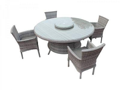 Cambridge 4 Stackable Chairs and Large Round Dining Table with Lazy Susan Set in Grey