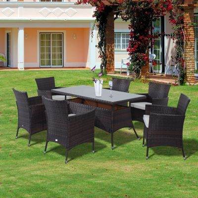 Outsunny Garden Rattan Furniture Cube Dining Table 6 Chairs