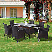 Outsunny Garden Rattan Furniture Cube Dining Table 6 Chairs - Brown