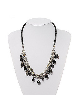 Silver Tone Link Charm Leather Style Necklace (Black) - 50cm