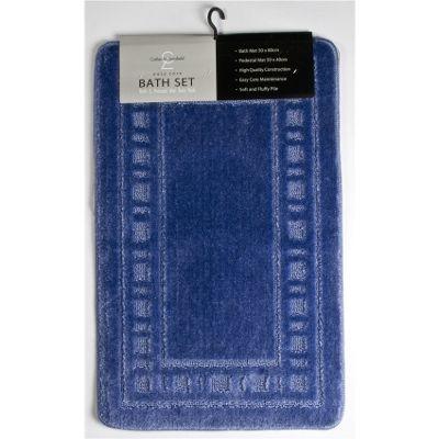 Catherine Landsfield Bathroom Armoni 2pc bathset, Bath Mat 50x80 Pedestal 50x40, blue