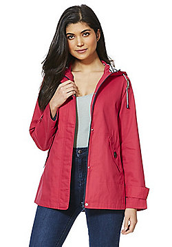 F&F Peached Cotton Shower Resistant Hooded Mac - Pink