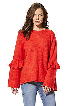 F&F Frilly Flute Sleeve Jumper - Red