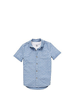 F&F T-Shirt and Diamond Print Short Sleeve Shirt Set - Blue/White