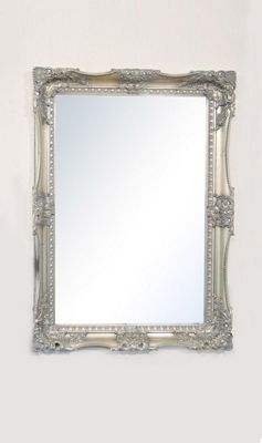 Large Antique Style Rectangle Silver Wall Mirror 3Ft7 X 2Ft7, 109Cm X 78Cm Wood