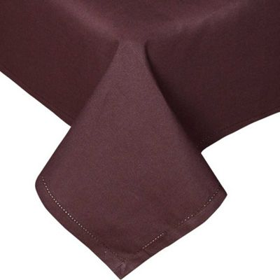 Homescapes Plain Cotton Chocolate Tablecloth, 54 x 90 Inches