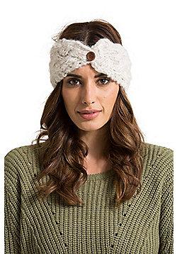 Zakti Womens Button Down 100% Acrylic Braid Stylish Headband for Snow Sports - Cream