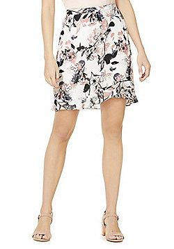 Vila Floral Print Ruffle Trim Skirt - Multi