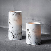 Set of Two Battery Marble Wax LED Pillar Candles