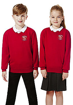 Unisex Embroidered V-Neck School Jumper with Wool - Red