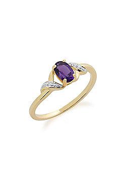 Gemondo Amethyst Ring, 9ct Yellow Gold 0.39ct Amethyst & Diamond Ring