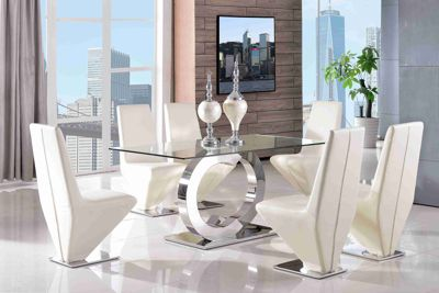Channel Glass and Polished Stainless Steel 160 cm Dining Table with 6 Ivory Rita Chairs