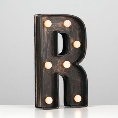 Vintage Style Battery Operated Brushed Bronze Plastic LED Light - Letter