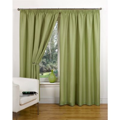 Hamilton McBride Canvas Unlined Pencil Pleat Green Curtains - 45x54 Inches (117x137cm)