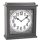 Wooden Square Mantle Clock - Dark Grey