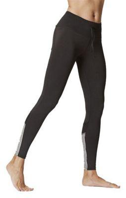 Women's Stripe Inset Leggings Black-White-XL