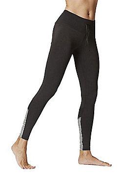 Women's Stripe Inset Leggings Black-White - Black & White