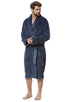 F&F Marl Super Soft Dressing Gown - Navy