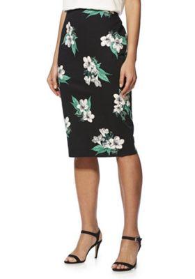 F&F Floral Sateen Pencil Skirt Black/Multi 6