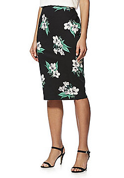 F&F Floral Sateen Pencil Skirt - Black/Multi
