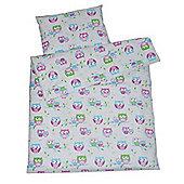 Cot Bed Duvet Cover Set 100% Cotton- White Owls