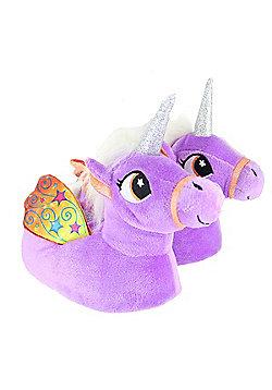 Children's Kids Girls Pastel Purple Unicorn Slippers With Wings - Purple