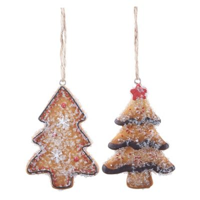 Pair of Hanging Gingerbread Christmas Tree Shaped Decorations