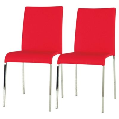 Denna Pair Dining Chairs Light Red