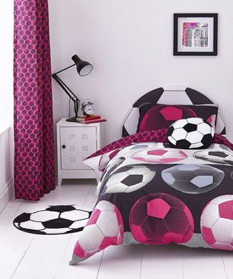 Catherine Lansfield Kids Neon Pink Football Cotton Rich Duvet Set - Single
