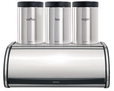 Brabantia Roll Top Brilliant Steel Bread Bin and 3 Piece Canister Set