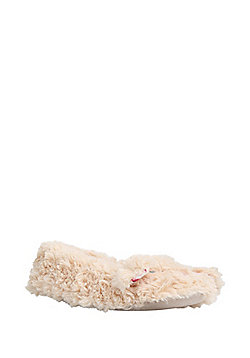 F&F Floral Lined Fluffy Bunny Slippers - Sand