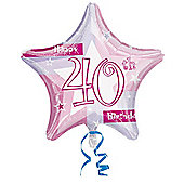 Happy 40th Birthday Pink Star Balloon - 18 inch Foil