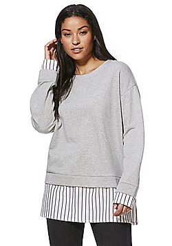 Noisy May Striped Poplin Mock Layer Sweatshirt - Grey