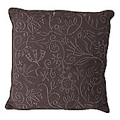 Flower Embroidered Cushion Grey