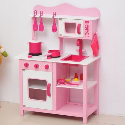 Buy Homcom Wooden Kids Kitchen Children 39 S Role Play Set Cooker Toys Girls Pink W Cooking