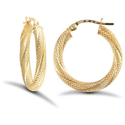 4b17b41ca Buy Jewelco London 9ct Yellow Gold 3mm Frosted twist hoop Earrings ...