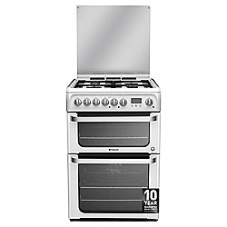 Hotpoint Ultima Electric Cooker with Electric Grill and Gas Hob, HUD61P S - White