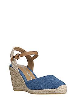 F&F Sensitive Sole Denim Espadrille Wedge Sandals - Denim