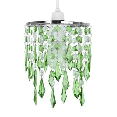 Modern Two Tier Ceiling Light Pendant Shade, Green & Clear