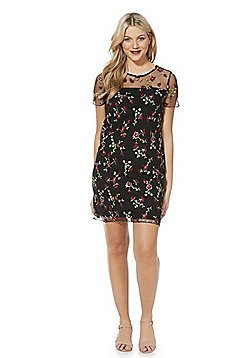 F&F Floral Embroidered Mesh Dress - Black