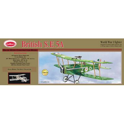 British S.E.5A - WWI Fighter - Flying Model Kit - 1:12 Scale - Guillow's