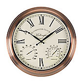Outside In Mollington Wall Clock and Thermometer 15in