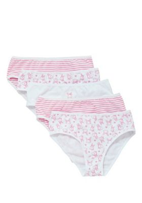 F&F 5 Pack of Bunny Print and Striped Briefs with As New Technology Pink 4-5 years