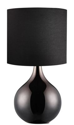 Elegant Table Lamp Drum Fabric Shade - Black Shiny Glass Base